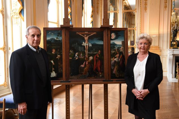 Henrietta Schubert and Christopher Bromberg are the grandchildren of Henry and Hertha Bromberg,a German-Jewish couple who fled Germany before World War II. France officially returned the Triptych of the Crucifixion painting byJoachim Patenier to the Brombergs' descendants this week.