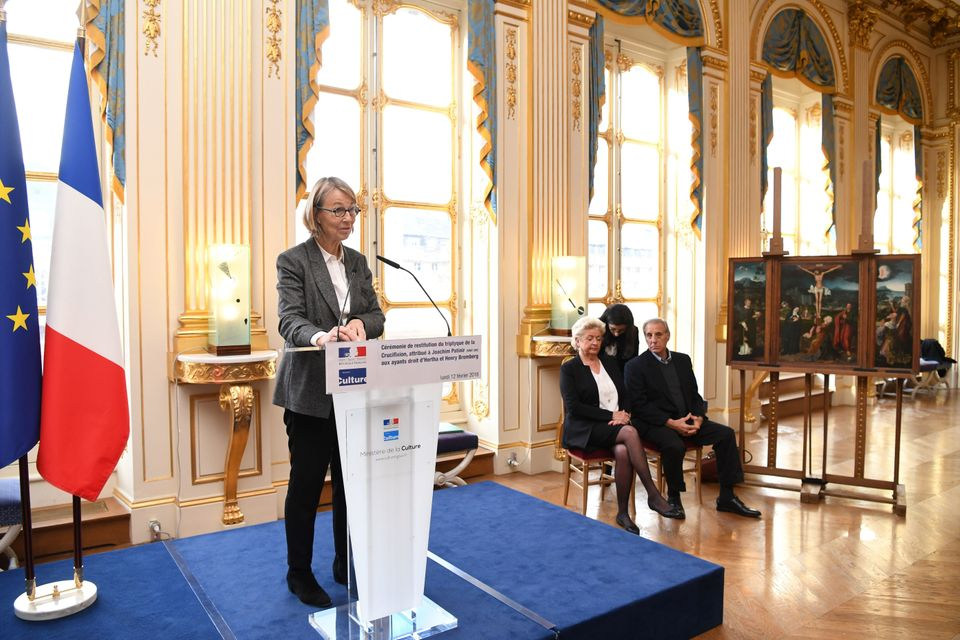 "French Culture Minister Francoise Nyssen (L) gives a speech during a ceremony to return the ""Triptych of the Crucifixion"