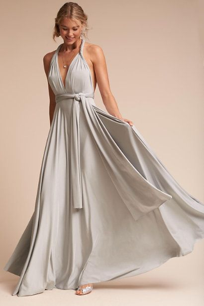 """By BHLDN at <a href=""""https://www.bhldn.com/bridal-party-bridesmaid-dresses/ginger-convertible-maxi-dress-silver/productoption"""