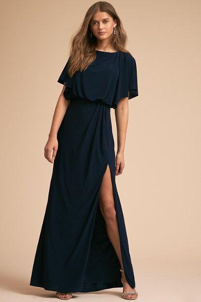 "By BHLDN at <a href=""https://www.bhldn.com/bridal-party-bridesmaid-dresses/lena-dress-navy/productoptionids/129488db-9086-421"
