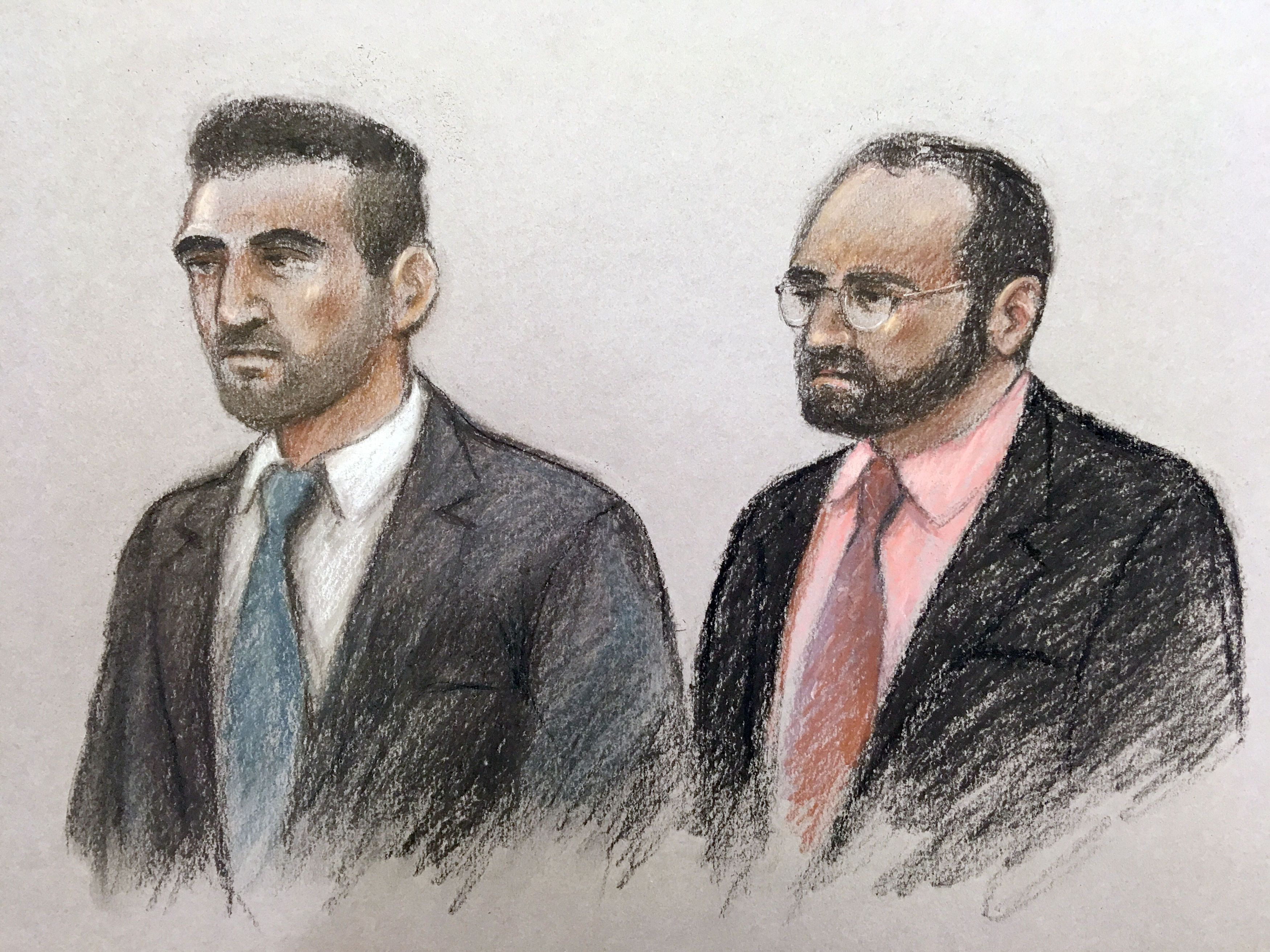 <strong>Court artist sketch of Vincent Tappu (left) and Mujahid Arshid in the dock of the Old Bailey.</strong>