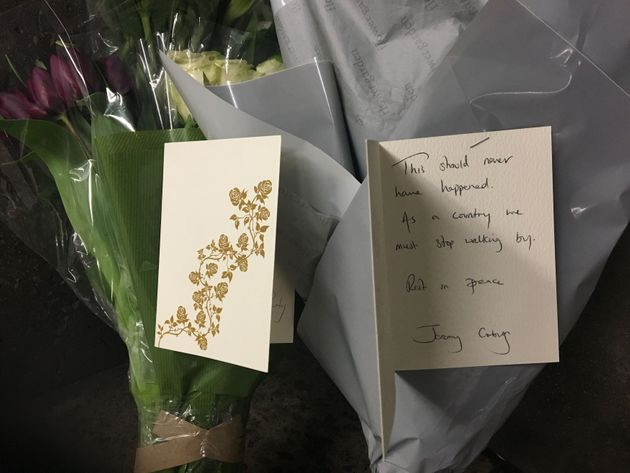 Flowers laid at the scene by Jeremy
