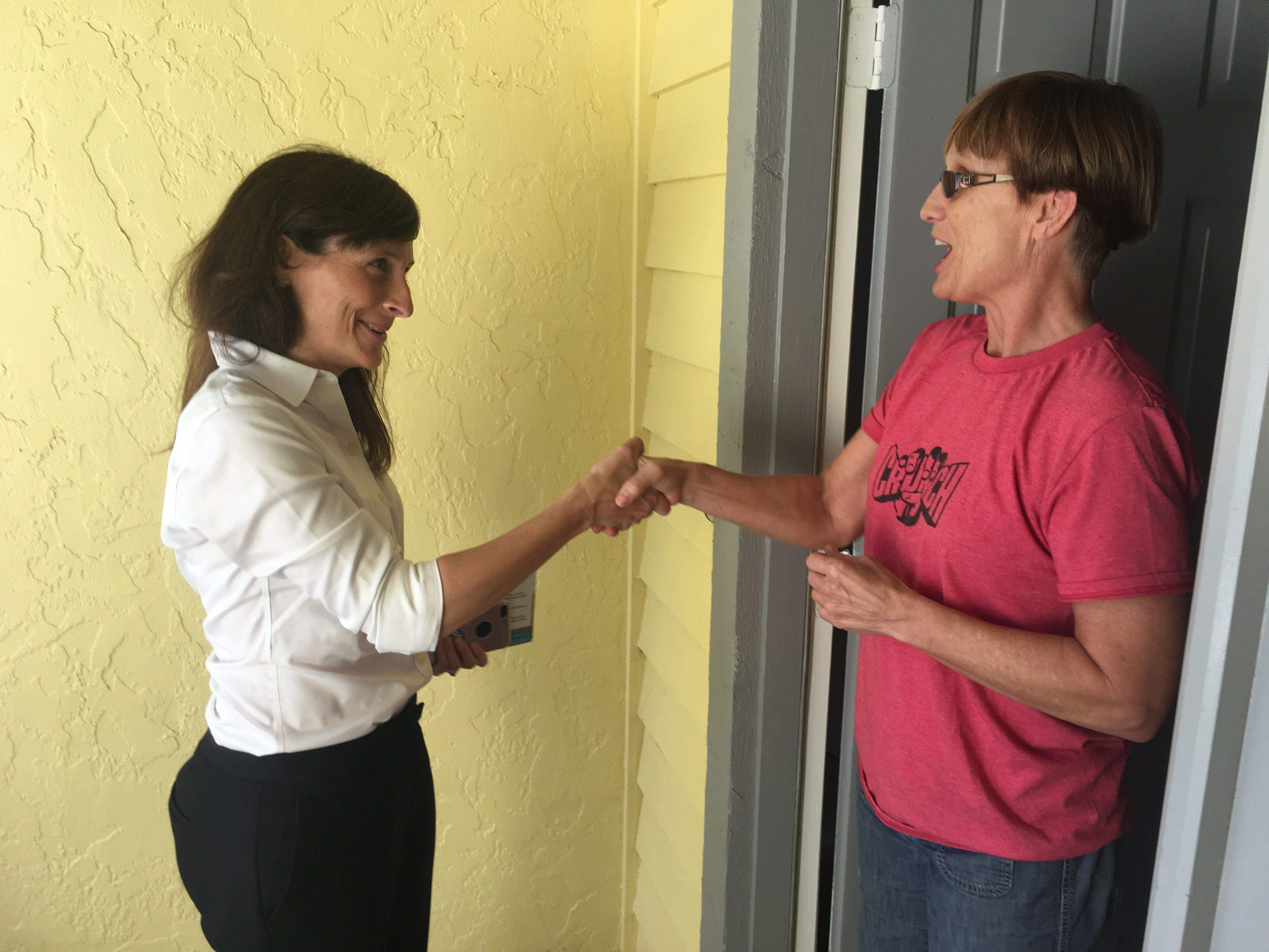 Democrat Margaret Good campaigns for votes in Sarasota, Florida, on Feb. 12, 2018.