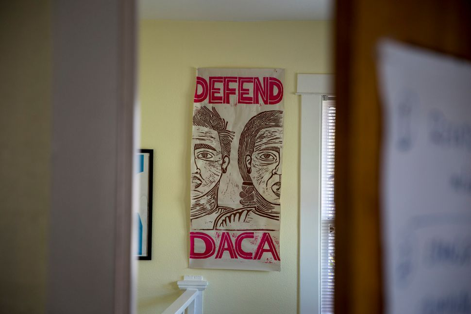 A sign at the Grassroots Leadership office, designed by Nicolás González-Medina, calls for the defens