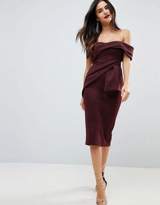 "By ASOS Collection at <a href=""http://us.asos.com/asos/asos-bardot-fold-wrap-front-midi-pencil-dress/prd/8963115?clr=plum&amp"