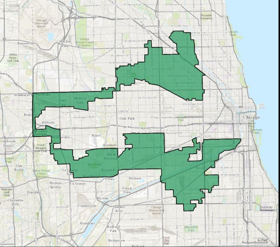 Republicans have criticized the irregular shape of Illinois' 4th congressional district as an example of a Democratic gerryma