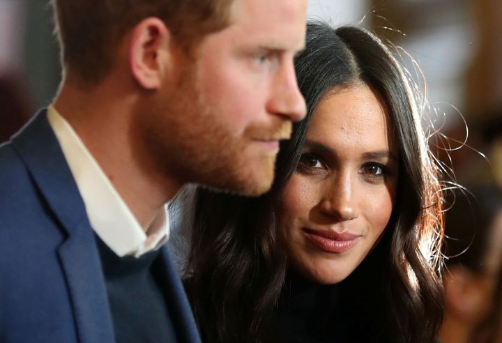 Prince Harry and Meghan Markle at a reception at the Palace of Holyroodhouse on Feb. 13.