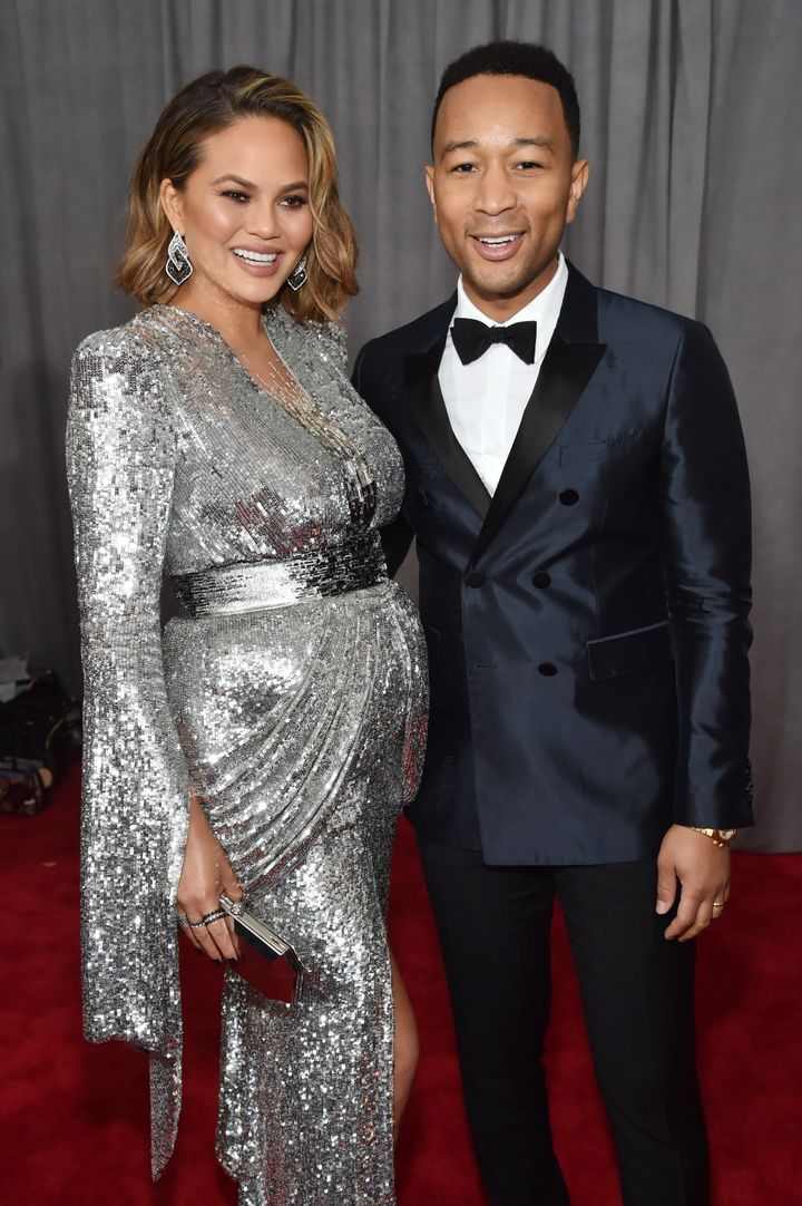 Chrissy Teigen and John Legend arrive at the 2018 Grammy Awards.