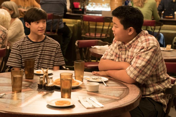 "Forrest Wheeler and Hudson Yang on the set of ""Fresh Off the Boat."""