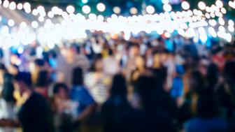 Concert Festival Event outdoor Party with Blurred People Background