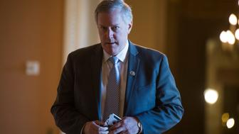 UNITED STATES - JANUARY 20: Rep. Mark Meadows, R-N.C., walks to the Senate side of the Capitol as Congress works on a solution to end the government shutdown on January 20, 2018. (Photo By Tom Williams/CQ Roll Call)