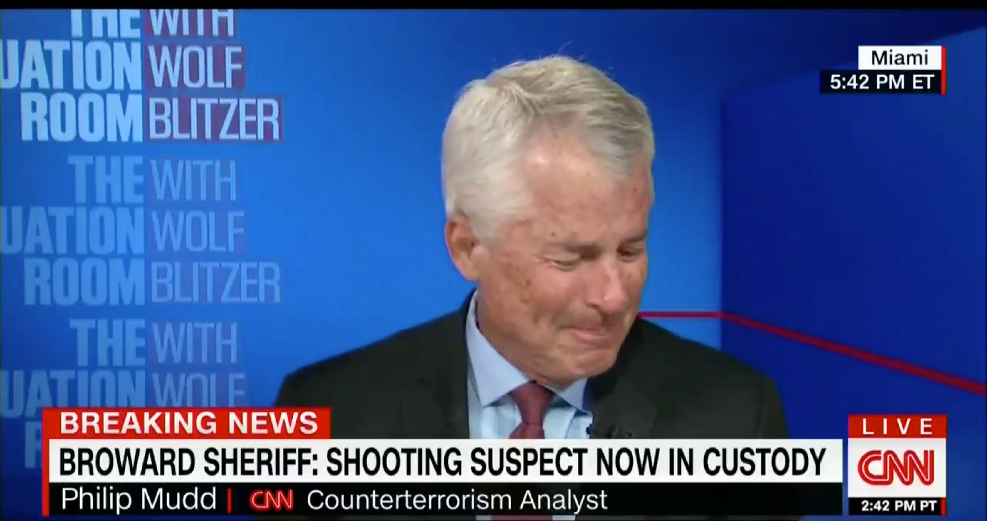 CNN Contributor Philip Mudd breaks down during a segment on the Florida school shooting