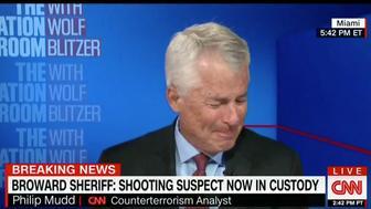 CNN Contributor Philip Mudd breaks down during a segment on the Florida school shooting