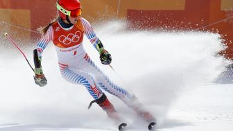 Alpine Skiing – Pyeongchang 2018 Winter Olympics – Women's Giant Slalom – Yongpyong Alpine Centre - Pyeongchang, South Korea – February 15, 2018 - Mikaela Shiffrin of the U.S. competes. REUTERS/Mike Segar