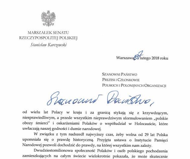 Der Briefkopf des Schreibens von Stanisław