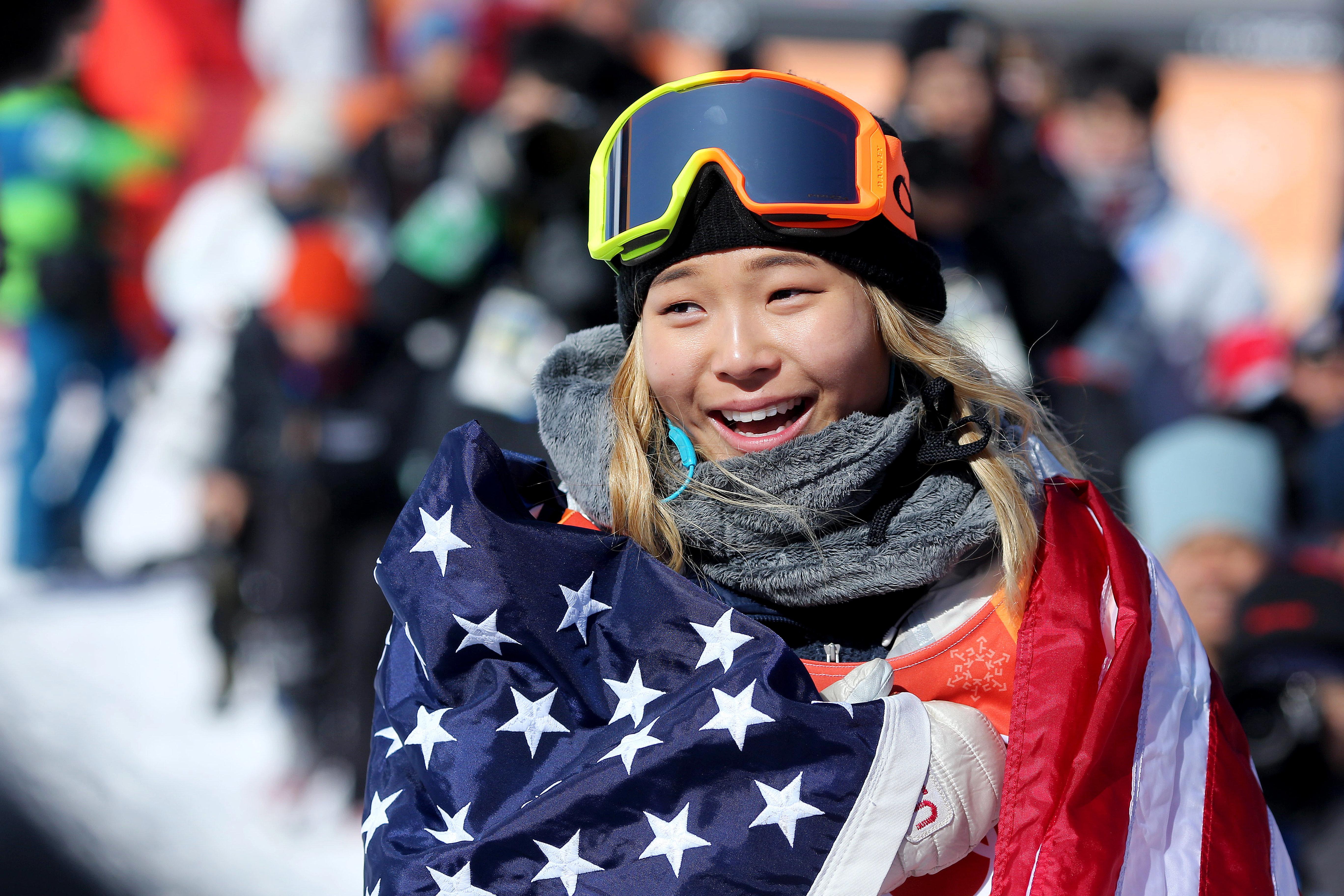 Chloe Kim celebrated her victory in the women's halfpipe.
