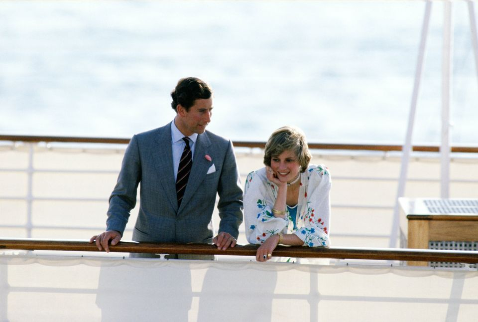 Prince Charles and Princess Diana on the Royal Yacht Britannia in Gibraltar at the start of their honeymoon