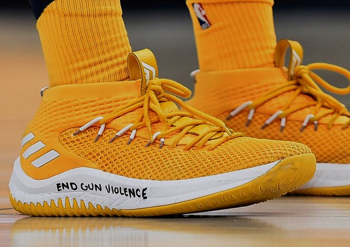 Shoes worn by Donovan Mitchell of the Utah Jazz during the second half of a game against the Phoenix Suns at Vivint Smart Hom