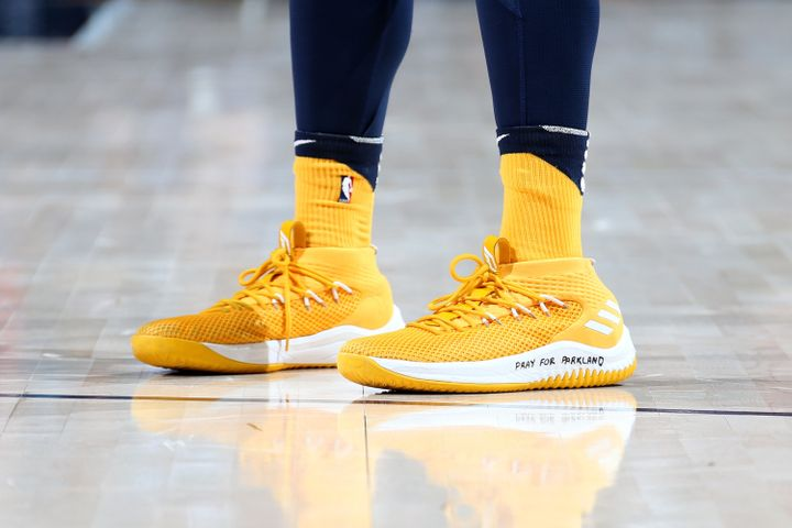 The sneakers of Donovan Mitchell of the Utah Jazz during the game against the Phoenix Suns on February 14, 2018, at Vivint Sm