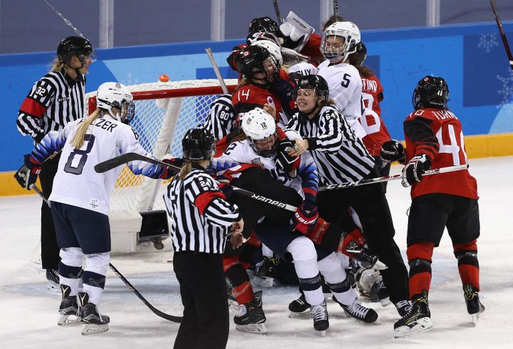 Just another spirited match between the U.S. and Canada Thursday in Pyeongchang, South Korea.