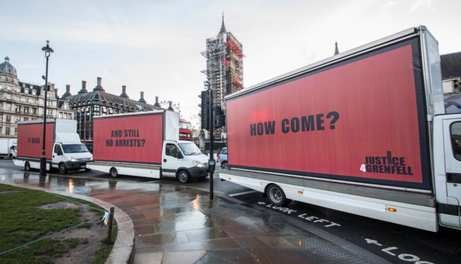 Grenfell campaigners unveil three red billboards around London over 'lack of justice'