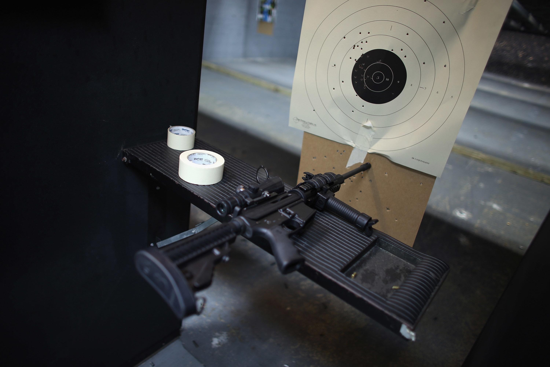 An AR-15 semi-automatic rifle at an indoor gun range in Pompano Beach, Florida.