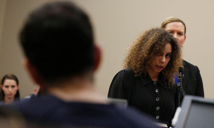 National gymnastics champion Mattie Larson reads her victim impact statement to Nassar in court on Jan. 23. Larson was one of several survivors who helped craft the bill with Sen. Dianne Feinstein (D-Calif.).
