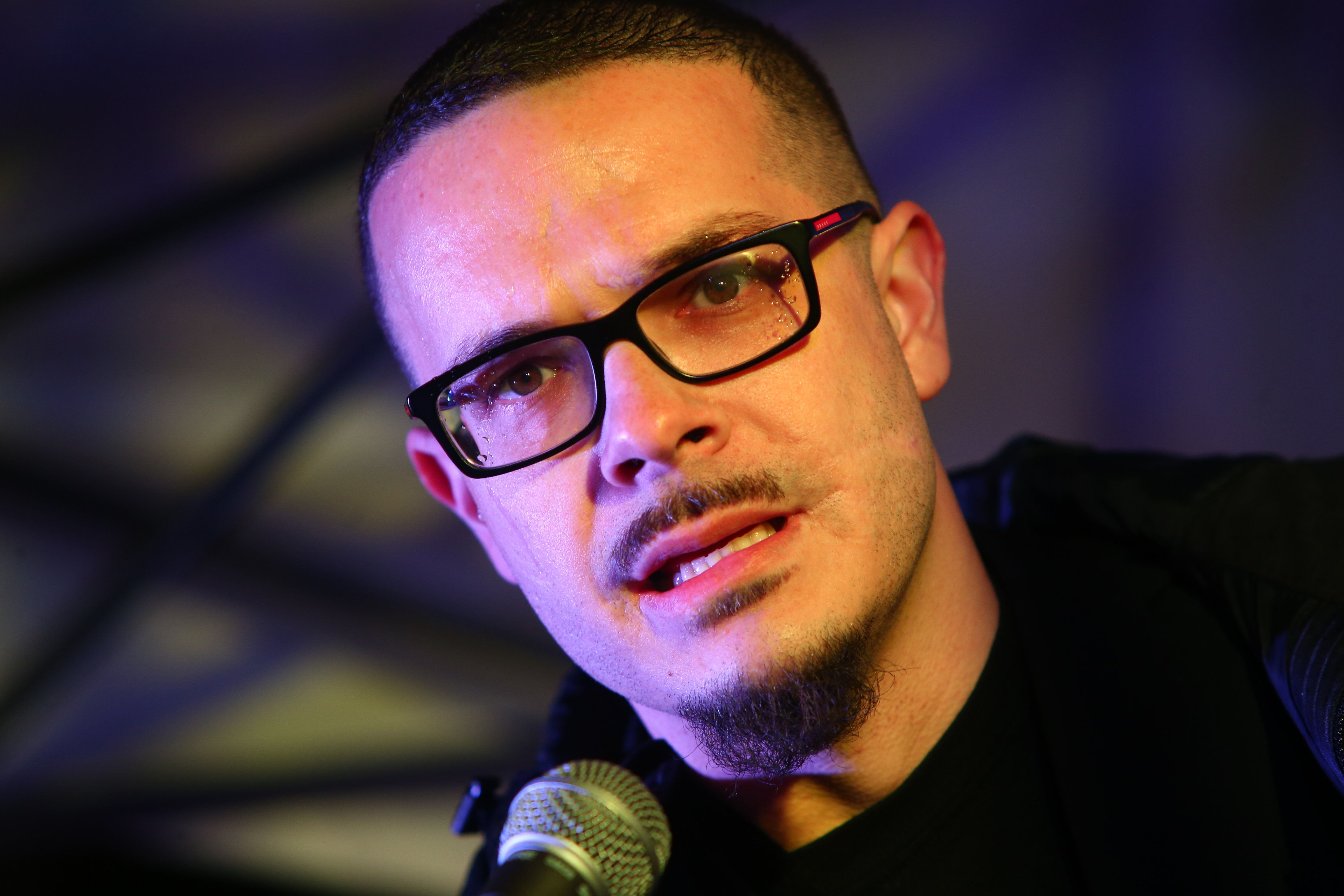 Shaun King speaks at a rally in Seattle, Washington, March 8.