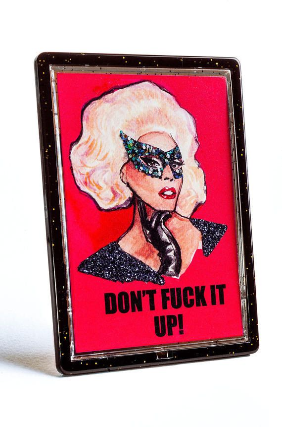 "Get it <a href=""https://www.etsy.com/listing/544693704/rupaul-dont-fuck-it-up-glittered-magnet"" target=""_blank"">here</a>.&nbs"