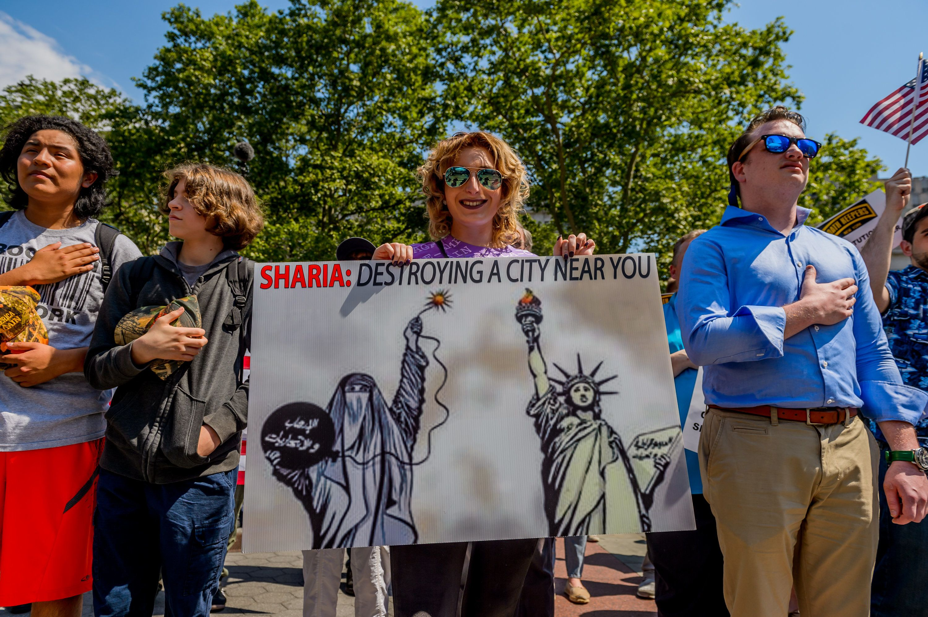 FOLEY SQUARE, NEW YORK, UNITED STATES - 2017/06/10: About a hundred people participated on the March Against Sharia organized by ACT for America at Foley Square in New York City as part of similar events in cities across the nation. (Photo by Erik McGregor/Pacific Press/LightRocket via Getty Images)