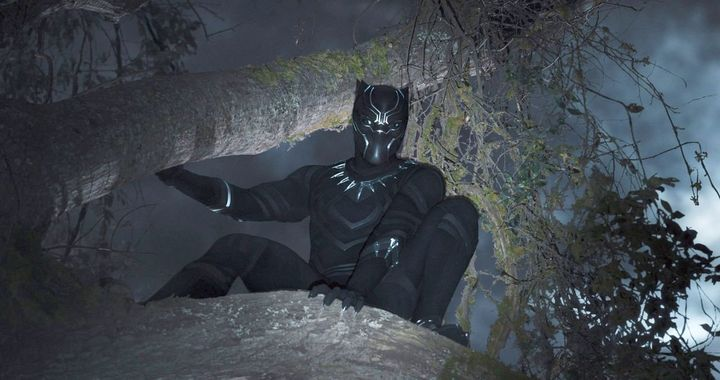 Chadwick Boseman in costume in Black Panther.