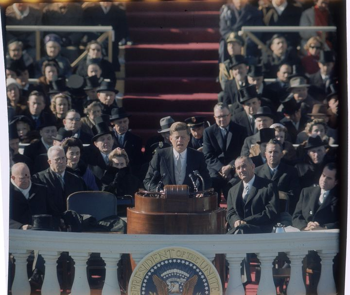 Former President John F. Kennedy delivering his inaugural speech.