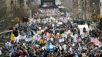 NEW YORK - FEBRUARY 15:  Thousands of protesters gather for an anti-war demonstration on First Avenue February 15, 2003 in New York City. The rally coincided with peace demonstrations around the world. (Photo by Mario Tama/Getty Images)