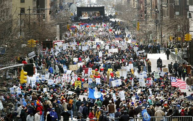 Between 400,000 and 500,000 protesters gathered to oppose the invasion of Iraq in New York City...