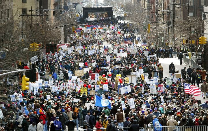 Between 400,000 and 500,000 protesters gathered to oppose the invasion of Iraq in New York City on Feb. 15, 2003.