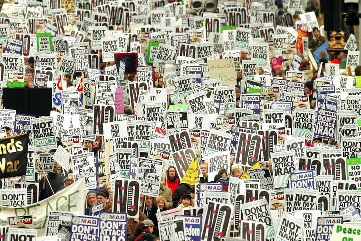 Around 1 million people protested the Iraq War on Feb. 15, 2003 in London.