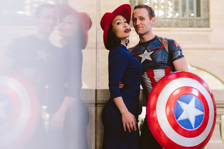 "Peggy Carter and Captain America from ""Captain America."""