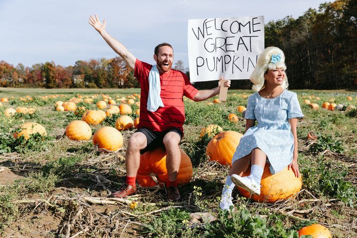"Linus and Sally from ""It's The Great Pumpkin, Charlie Brown."""