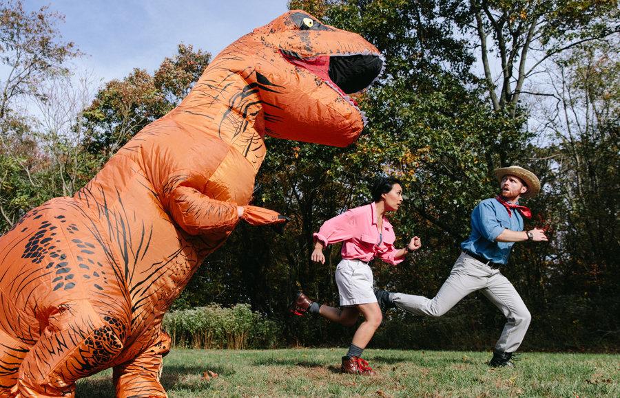 Their friend Sabrina Olivieri made a cameo as the ferocious dinosaur.
