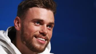PYEONGCHANG-GUN, SOUTH KOREA - FEBRUARY 11:  United States Freestyle skier Gus Kenworthy answers questions at a press conference at the Main Press Centre during the PyeongChang 2018 Winter Olympic Games on February 11, 2018 in Pyeongchang-gun, South Korea.  (Photo by Ker Robertson/Getty Images)