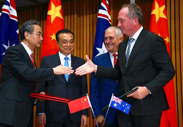 Australian Prime Minister Malcolm Turnbull, Chinese Premier Li Keqiang, Chinese Foreign Minister Wang...