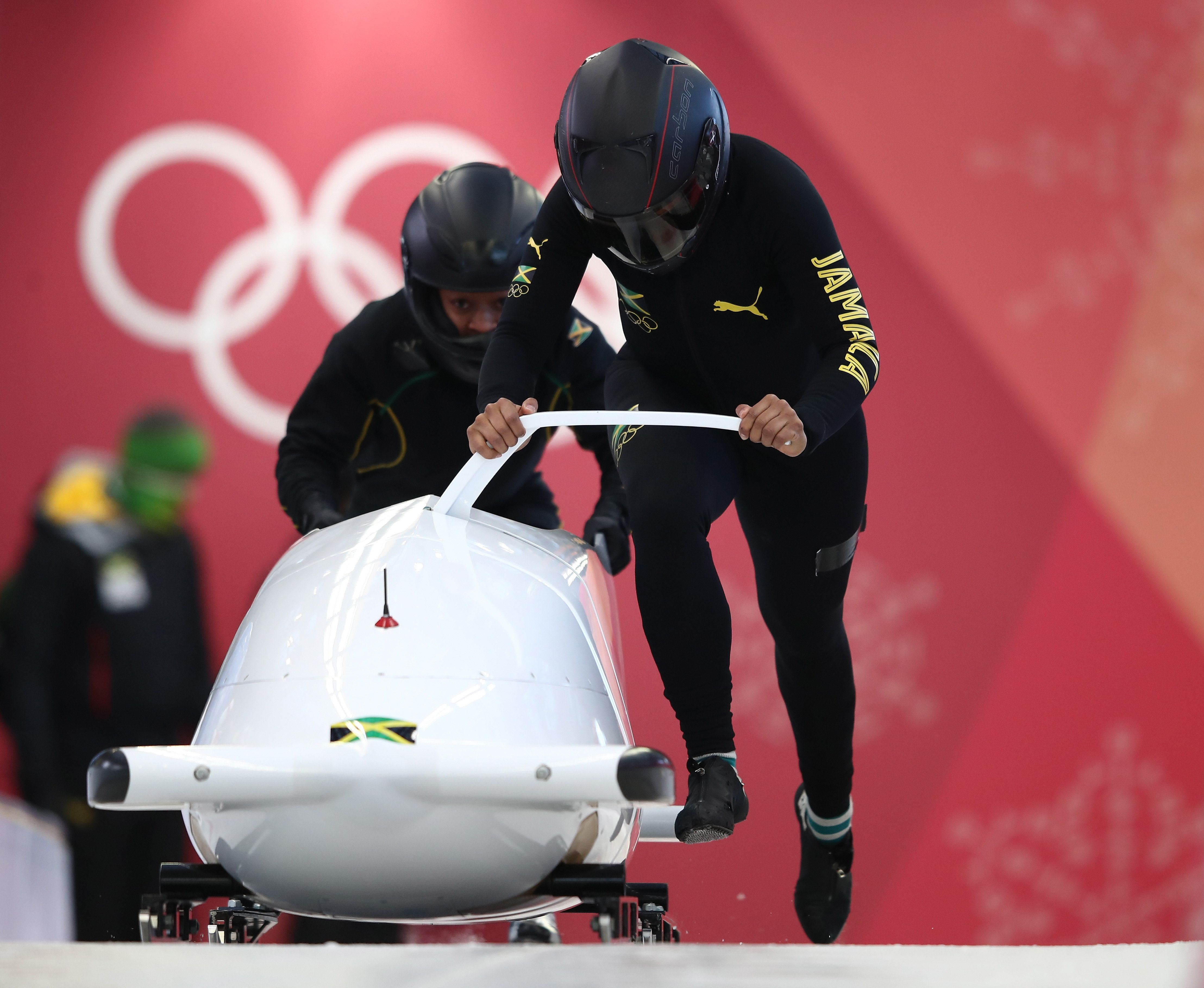 PYEONGCHANG-GUN, SOUTH KOREA - FEBRUARY 07:  Jazmine Fenlator-Victoria of Jamaica trains during Bobsleigh practice ahead of the PyeongChang 2018 Winter Olympic Games at Olympic Sliding Centre on February 7, 2018 in Pyeongchang-gun, South Korea.  (Photo by Clive Mason/Getty Images)