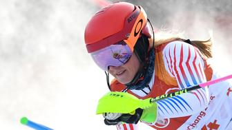 USA's Mikaela Shiffrin reacts after competing in the Women's Slalom at the Jeongseon Alpine Center during the Pyeongchang 2018 Winter Olympic Games in Pyeongchang on February 16, 2018. / AFP PHOTO / FRANCOIS XAVIER MARIT        (Photo credit should read FRANCOIS XAVIER MARIT/AFP/Getty Images)