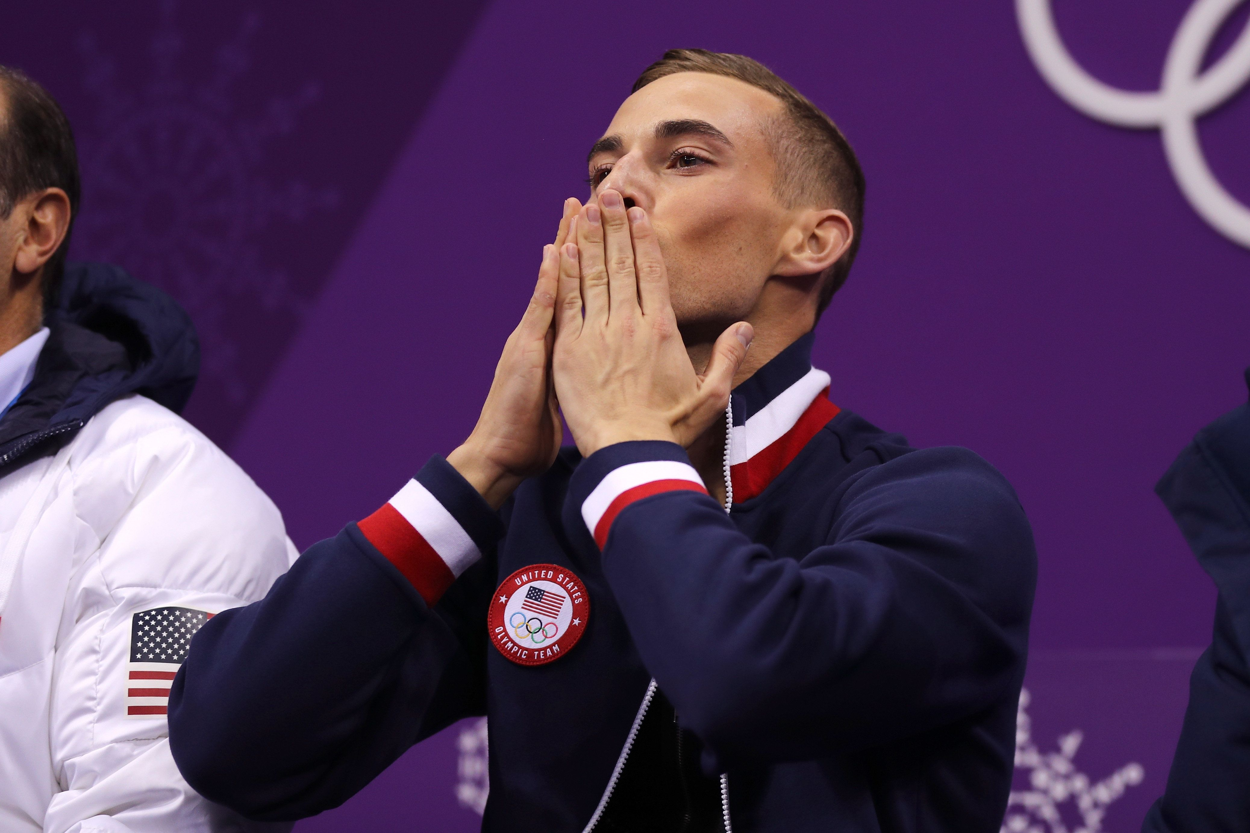 GANGNEUNG, SOUTH KOREA - FEBRUARY 16:  Adam Rippon of the United States reacts after competing during the Men's Single Skating Short Program at Gangneung Ice Arena on February 16, 2018 in Gangneung, South Korea.  (Photo by Maddie Meyer/Getty Images)