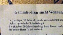 """""""Gammler-Paar"""" sucht Wohnung – mit diesem dreisten Aushang"""