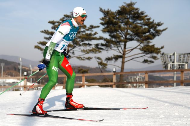 Mexico's German Madrazo was given a hero's welcome on completing the 15km cross country event at Pyeongchang