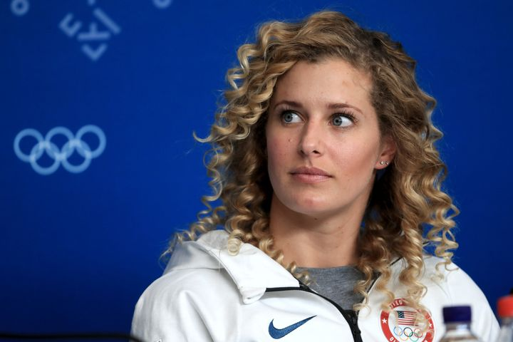 Lindsey Jacobellis, pictured at a Feb. 8 press conference, had been looking forward to overcoming past Olympic disappointment