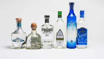 Here are the six brands of tequila we tested arranged in price order From left to right they are: Tres Generaciones 47 Patron 47 Avion 43 Hornitos 25 Milagro 22 Sauza 20