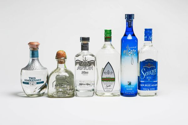 Here are the six brands of tequila we tested, arranged in price order. From left to right, they are: Tres Generaciones ($47),