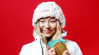 GANGNEUNG, SOUTH KOREA - FEBRUARY 13:  (BROADCAST-OUT) Gold medalist in Snowboard Ladies' Halfpipe Chloe Kim of the United States poses for a portrait on the Today Show Set on February 13, 2018 in Gangneung, South Korea.  (Photo by Marianna Massey/Getty Images)